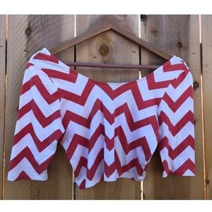 White/Coral Chevron Crop Top